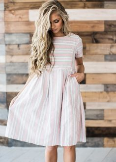 stripes, striped dress, hair, blonde hair, mothers day, sunday dress, style, fashion, spring, spring dress