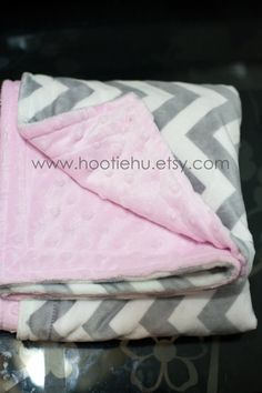 Gray Chevron and Soft Pink  Minky Baby Blanket READY by HootieHu
