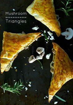 puff pastry and mushroom triangles.