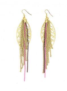 Boucles d'oreilles feuille en métal dorées chiquita