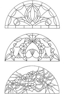 are these art deco or art nouveau stained glass? nice idea of adapting embroidery patterns from art