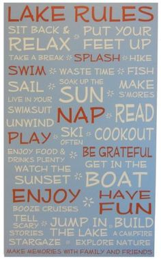 Lake House Rules - Blue - 18 x 30 - Makes a Great Decoration, Gift, Decor in Any Cabin, Cottage, Home, or Lodge. Made in USA.  Price : $59.00 http://www.longlakelifestyle.com/Lake-House-Rules-Decoration-Cottage/dp/B00HTOXD4K