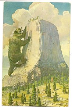 This three-cent postcard depicts the Native legend of how Devil's Tower was formed. It was sent in 1914 to Mr. Narcisse Rich in Faith. (Courtesy of the Newell Museum) #RapidCity #SouthDakota #retro #historic #art #DevilsTower