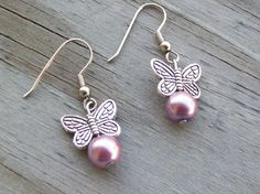 Pink Pearl Butterfly Earrings  Valentine's Day  by Sapphire107, $12.00