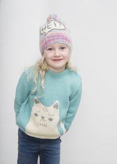 Novita patterns for kids and toys, kitten pullover made with Novita Nalle yarn #novitaknits https://www.novitaknits.com/en