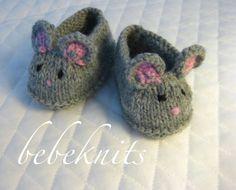 Little Mice Baby Slippers Knitting Pattern by bebeknits on Etsy