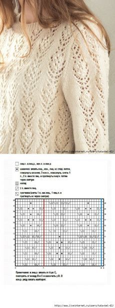 pinterest.ru Knitting Stiches, Sweater Knitting Patterns, Knitting Charts, Knitting Designs, Hand Knitting, Lace Patterns, Crochet Patterns, Vintage Knitting, Pulls