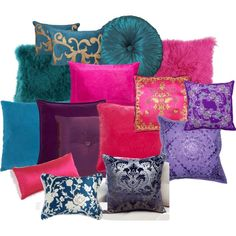 Jewel Tone Pillows ~ LOVE the bottom left pillow! White and deep blue.