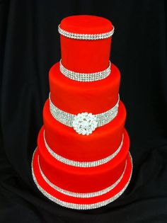 Interesting......RED and BLING wedding cake~!!! But maybe change the diamonds to black ones :)