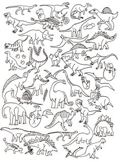 Dinosaur colouring page Dinosaur Crafts, Dinosaur Party, Dinosaur Coloring Pages, Colouring Pages, Dinosaur Tattoos, Halloween Drawings, Flash Art, Preschool Activities, Embroidery Patterns