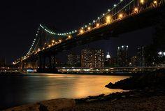 Manhattan Bridge Illuminating the East River by Dave Sribnik Manhattan Bridge, East River, Envy, Fine Art America, Night, Bridges, Places, Travel, Voyage