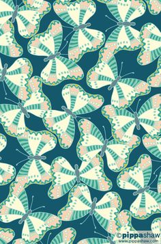 'Farfalle' repeat pattern by Pippa Shaw  #pattern #repeat #surfacepattern #butterflies #fabricdesign #farfalle #color #nature #art