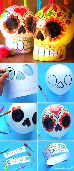 Make a Calavera Balloon skull with this easy craft for Day of the Dead. Printable templates and tutorial at https://happythought.co.uk/product/day-of-the-dead-craft-activity El Dia de los Muertos sugar skull craft Coco fiesta party ideas.
