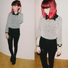H&M Sweater, Primark Shirt, New Look Leggings, River Island Chunky Boots