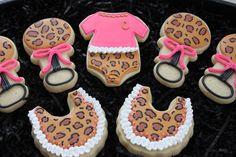 Baby Shower Cookies~           Leopard Print Cookies by 4theloveofcookies, $35.00, pink, Onesie, bib, rattle