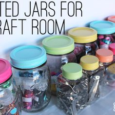 Painted Jars for my Craft Room {cute organization}