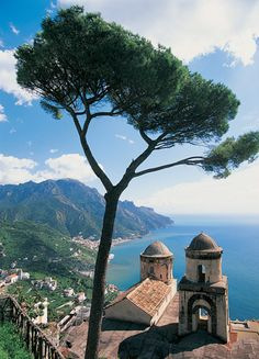 RAVELLO AMALFI COAST, CAMPANIA, ITALY Ravello lies perched 1,000 feet above the blue Mediterranean waters, with breathtaking views of the cliff-lined Amalfi Coast. Frequented by artists and writers (for many years, American novelist and playwright Gore Vidal kept a home here), Ravello is also a music center: The summer's prestigious Wagner Festival brings in performers and visitors from around the world.
