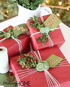 Gorgeous Christmas wrapping idea using baker's twine and kraft pinstripe gift wrap.  http://www.nashvillewraps.com/ribbon/bakers-twine/c-024593.html  http://www.nashvillewraps.com/gift-wrap/recycled-wrapping-paper/c-006075.html