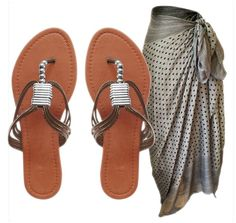 Peach Couture AVA Beaded Thong Sandal w/ Open or Closed Back & Polka Dot Sarong (Silver, 5)