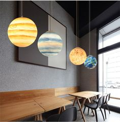 Chandelier Lighting Fixtures, Pendant Lighting, Light Fixtures, Pendant Lamps, Resin Pendant, Led Solar, Planet Design, Painting Lamp Shades, 139