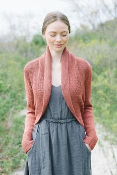 This shrug is worked side to side from cuff to cuff. Sleeves are worked in the…