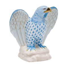 Herend Figurines Prices | Herend Porcelain Figurine Eagle Blue Fishnet at Herendstore