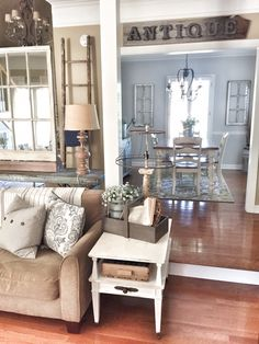 ❤️ I LOVE everything in this pic! I WANT my living room, dining, to all look like this! This is EXACTLY the look I'm going for! My Living Room, Home And Living, Living Room Decor, Living Spaces, Dining Room, Dining Area, Dining Table, Country Decor, Farmhouse Decor