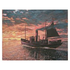 'Steam Drifter at Sea, Sunset' by Colin Jack £222.80