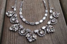 Vintage Signed WEISS Crystal Rhinestone Bib Necklace Bracelet Set EXCELLENT! in Jewelry & Watches, Vintage & Antique Jewelry, Costume, Retro, Vintage 1930s-1980s, Sets | eBay