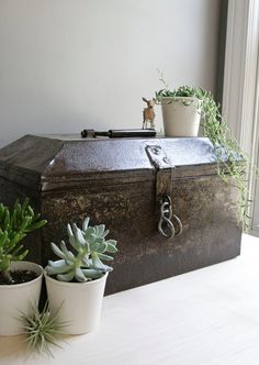 industrial domed metal chest. $94.00, via Etsy.