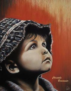 """""""Là-haut L'enfant"""" - Pastel sec par Christelle Braconnier, d'après une photo libre de droits"""