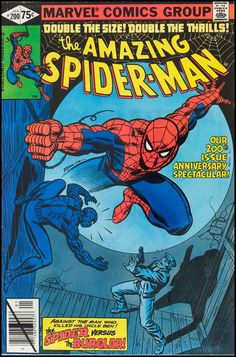 """Amazing Spider-Man vol.1 # 200, """"The Spider and The Burglar… A Sequel"""" (January, 1980). Cover by John Romita Sr."""