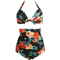 Cocoship Retro 50s Black Pink Blue Floral Halter High Waist Bikini... (15.710 CLP) ❤ liked on Polyvore featuring swimwear, bikinis, high-waisted bikinis, bikini swimsuit, pink bikini, floral high waisted bikini and high waisted bathing suits
