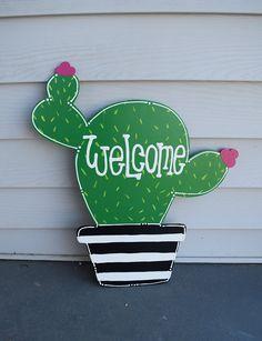 cactus door hanger; summer door hanger; wooden cactus; cactus wreath; cactus decor; door hanger; cac