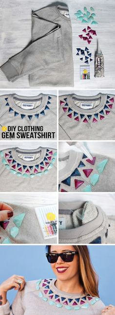 DIY cute way to revamp a plain sweat shirt- studs, rhinestones, beads accenting neckline. Easy and fun!