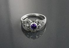Amethyst Marcasite Ring Sterling Silver Vintage Ring Lab