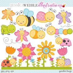 Garden Bugs Cute Digital Clipart - Commercial Use OK - Cute Bugs Clipart, Cute Bugs Graphics, Ladybug, Grasshopper, Butterfly, Snail