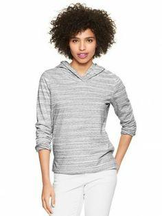 Moletom Gap Women's Heathered stripe hoodie heather gray 918449 #Gap#Moletom