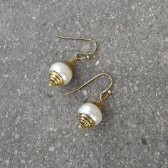 Pure, hand made Tibetan capped genuine freshwater pearl earrings by Lovepray Jewelry