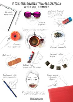 Infographic about happiness - 12 Happiness-Enhancing Strategies By Sonja Lyubomirsky: Expressing Gratitude, Cultivating Optimism. Self Development, Personal Development, Anxiety Coping Skills, Study Organization, Life Plan, Organize Your Life, Optimism, Self Improvement, Happy Life