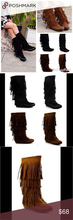 Layer Fridge Boots ❌No Trades❌ Stylish mid-calf boot soft suede upper are breathable and mold to your feet with each step. Fringe detail gives the tribal influence for a lasting appeal. Slip-on silhouette ensures easy on and off wear. Only one size per color available in black and camel.  Product #60 Shoes Moccasins