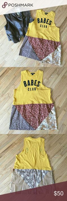 """Handmade Top Be in the """"Babes Club"""" with this uniquely made tank top. Bottom fabric is hand sewn onto the shirt. The bottom portion of the shirt has an opening in back. Stay in boho fashion with one of a kind tank top. Forever 21 Tops Tank Tops"""