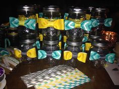 Boy little man mustache baby shower favor bow tie mason jar glass with mustache old fashioned paper straw