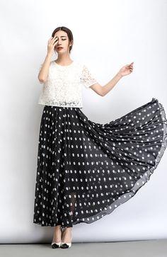Chiffon skirt, Polka dot skirt, maxi skirt, long polka dot skirt, summer skirt, long skirt, maxi chiffon skirt, women skirt black C481
