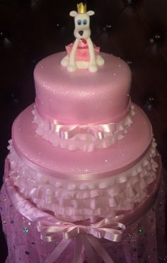 Pink glittery cake with gumpaste dog in tutu - by Cakery Creation in Daytona Beach