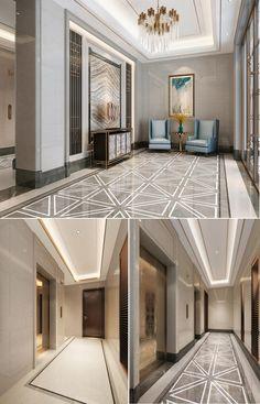 Exquisite retro lift lobby tile lobby design floor for Hotel foyer decor