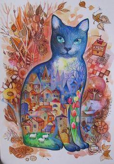 Turquoise - Painting,  29,7x42 cm ©2006 von Oxana Zaika -  Malerei