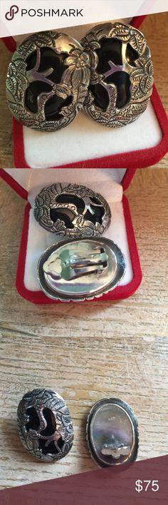 Earrings Sterling silver solid 925 vintage 🌸 Earrings Sterling silver solid 925 authentic stones vintage Jewelry Earrings