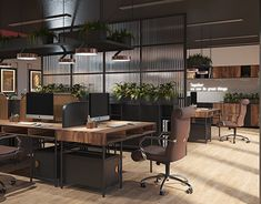 hai nam on Behance Open Concept Office, Open Office Design, Corporate Office Design, Industrial Interior Design, Industrial Office Space, Office Design Concepts, Open Space Office, Office Designs, Design Ideas