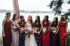 Floral Bridesmaid Dresses. Mismatched Bridesmaid Dresses. Seaside wedding. Bohemian Wedding.